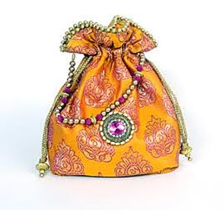 Golden Orange Potli Bags