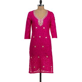 Pink Gota Patti Work Kurti For Womens