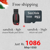 Combo Sandisk  8 GB Pendrive + 16 GB Memory Card  Offer