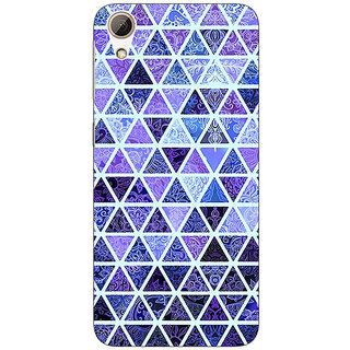 Enhance Your Phone Blue triangles Pattern Back Cover Case For HTC Desire 728