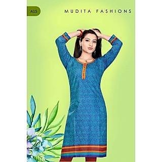 mudita fashions printed blue full sleeved kurta for ladies