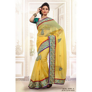 Deserving Beautiful Of Lemon Yellow Colour Saree