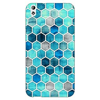 Enhance Your Phone Blue Hexagons Pattern Back Cover Case For HTC Desire 816