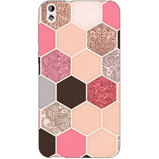 Enhance Your Phone Pink Hexagons Pattern Back Cover Case For HTC Desire 816G