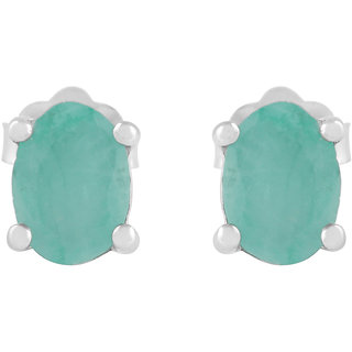 925 Sterling Silver Emerald Studs Precious Earrings by Allure