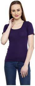 Renka Comfortable Purple Color Seamless Summer Tops for Women