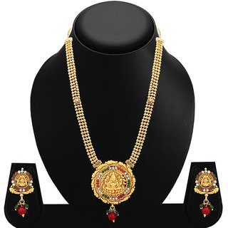 Sukkhi Enchanting Gold Plated AD Temple Necklace Set For Women