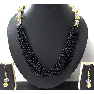Fancy Black Multi lines pearl necklace set