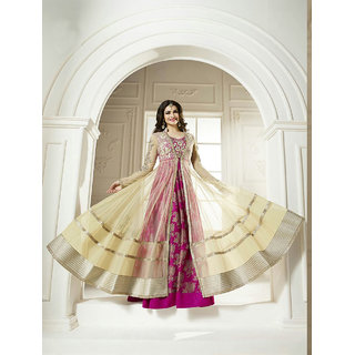 Thankar Pink And Beige Embroidered Dhupian And Net Anarkali Suit
