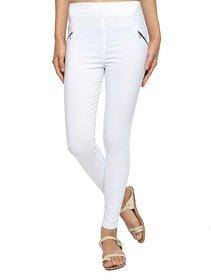 Wajbee Women White Color Cotton Lycra Jegging