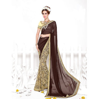 Thankar online trading Brown Georgette Embroidered Saree With Blouse