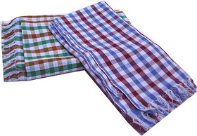 Brand New Fine Cotton Colourful Couple of Checked Design Bath Towels