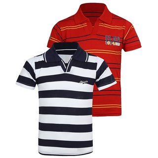 Jazzup Cotton Striped T-Shirts For Boys - Pack Of 2 (KZ-PSHC1034)