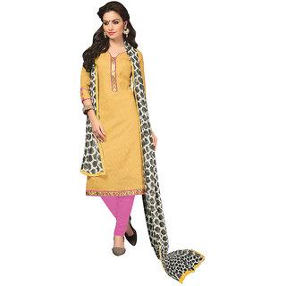 Parisha Gold Silk Printed Kurta & Churidar Dress Material (Unstitched)