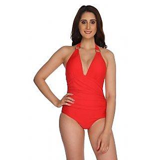 Nidhi Munim Red rouched halter swimsuit