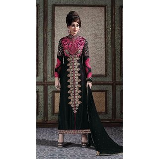 Black Chiffon Pink Embroidered Kurta with Straight Pants and Embroidered Dupatta