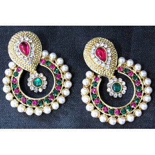 Pink and Green Pearl Polki earring