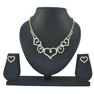 Diovanni Valentine Signature Heartz Solitaire 4-Piece American Diamond Jewellery Set