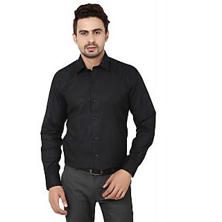 Hankcock Cotton Black Men Full Sleeves Formal Shirts (1133Black)
