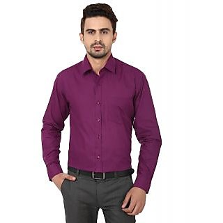 Hankcock Cotton Purple Men Full Sleeves Formal Shirts (1171Purple)