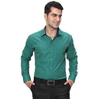 Hankcock Cotton Green Men Full Sleeves Formal Shirts (9256Green)