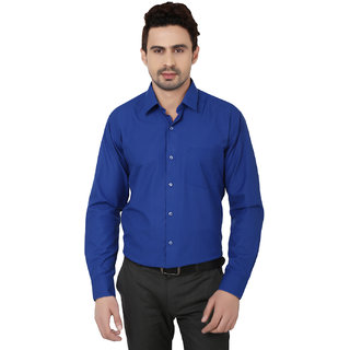 Hankcock Cotton Blue Men Full Sleeves Formal Shirts (1133blue)