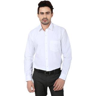 Hankcock Cotton White Men Full Sleeves Formal Shirts (1133White)