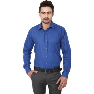 Hankcock Cotton Blue Men Full Sleeves Formal Shirts (1171blue)