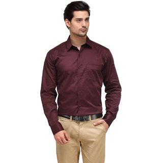Hankcock Cotton Maroon Men Full Sleeves Formal Shirts (1181Maroon)