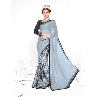 Thankar online trading Black Georgette Printed Saree With Blouse