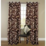 Shop 24x7-beautiful Brown Colour With Golden Flower Design Curtain (4x7ft)