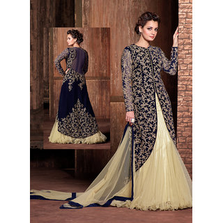 RapidDukan Semi-Stitched Navy Blue Color Gown Suit Dupatta Material SF361