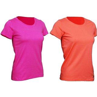 Women Sportee T shirt 100% cotton  Orange and Pink