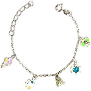LeCalla Fun Funky Silver Charms Bracelet