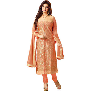 Lovely Look Peach Embroidered Un-Stitched Chudidar Suit LLKAGPMR2135