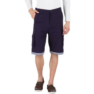 Hypernation Blue Twill With White Blue Check At Bottom Cotton Short For Mens
