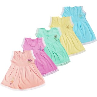 Baby Girls frocks set ( 0 - 6 months ) ( A pack of 5 )