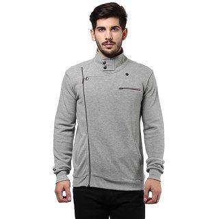 Hypernation Grey Collar With Side Zipper Biker Jacket Cotton