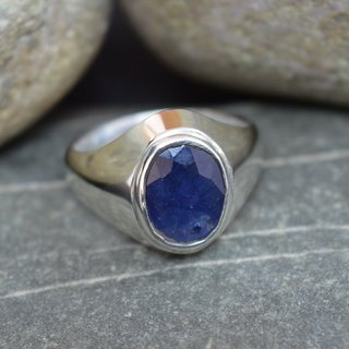 5 Ct Beautiful Handmade Handmade 92.5 Sterling Silver Blue Sapphire Gemstone Ring - HR165