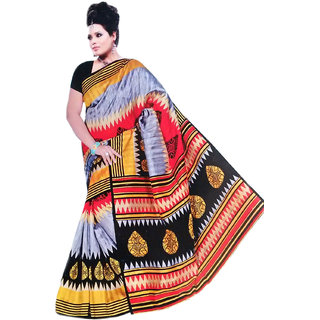 RoopSangamz Stylish Red And Yellow Color Printed Cotton Silk Fabric Saree