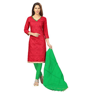 Lovely Look Red Embroidered Un-stitched Straight Suit LLKPRSKTP309