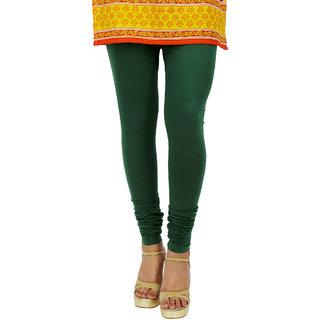 Kyaara dark green cotton lycra Churidaar leggings