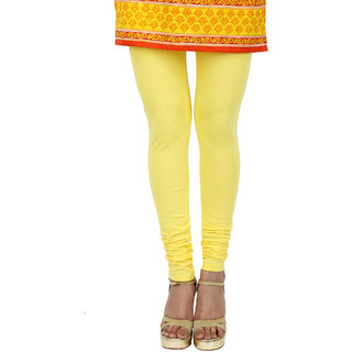 Kyaara lemon yellow cotton lycra Churidaar leggings