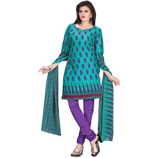 Vatika Womens Cotton unstitched dress material (VS838BlueFree Size)