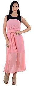 Westchic Womens Pink  Black Georgette Long Dress