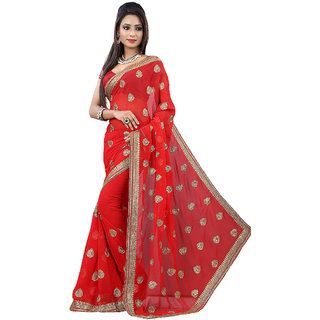 GC Sarees Red Color Embroidered Chiffon Sari ( With Blouse Piece )