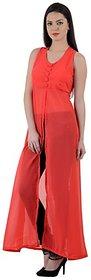 Westchic Red Front Open Long Dress