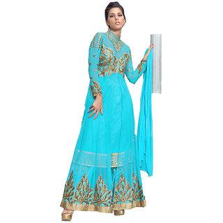 Classy Sky Blue Anarkali - 8372