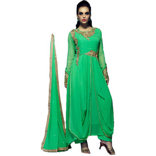 Appealing Green Designer Embroidered Suits - 8888