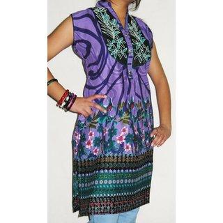 1223 XL Cotton Printed Purple Embroidered Neckline  Kurti